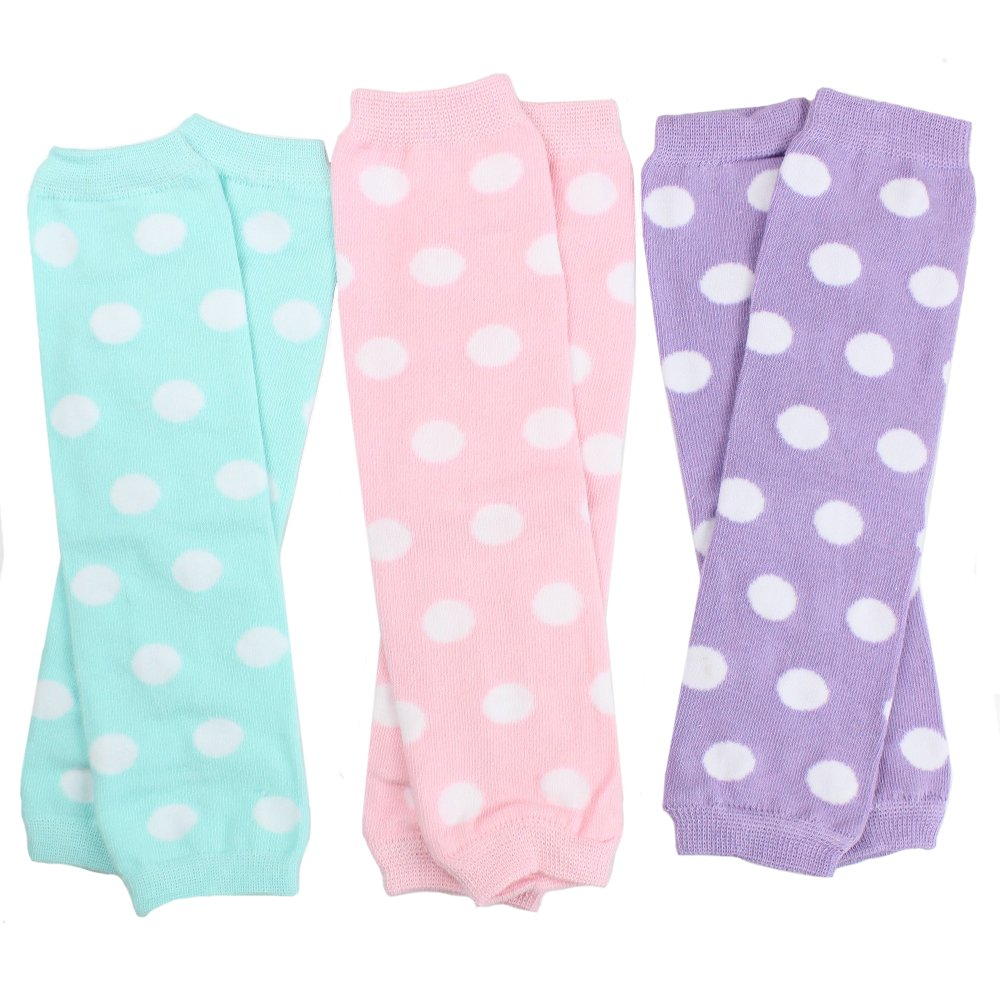 juDanzy 3 Pair Baby Girl Leg Warmers Aqua Polka Dot, Powder Pink Polka Dot, Lavender Polka Dot (One Size) by juDanzy
