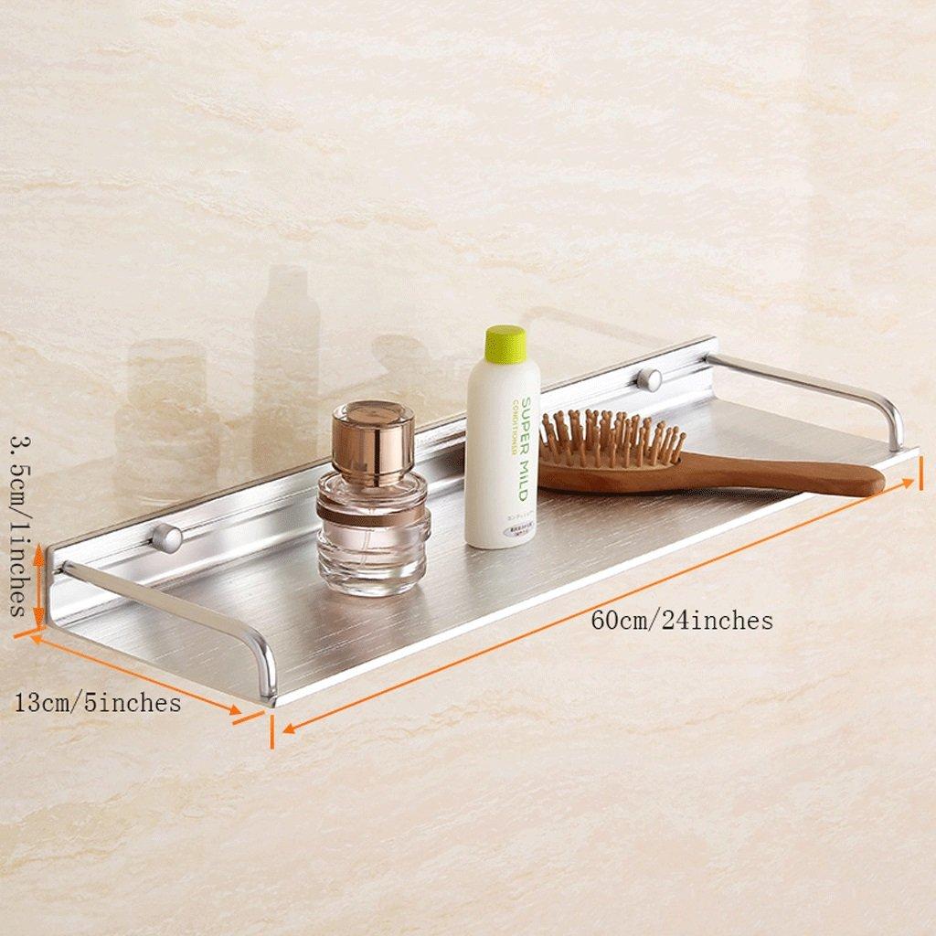 YXN Space Aluminum Bathroom Frame Bathroom Solid Thick Metal Pendant Bathroom Single Layer Bathroom Shelf Wall Mount (Size : 60cm)