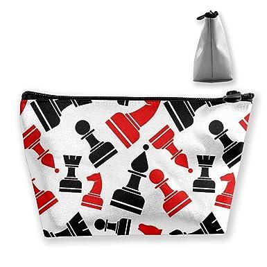Amazon.com: Moda ajedrez patrón cosmético bolsa de ...