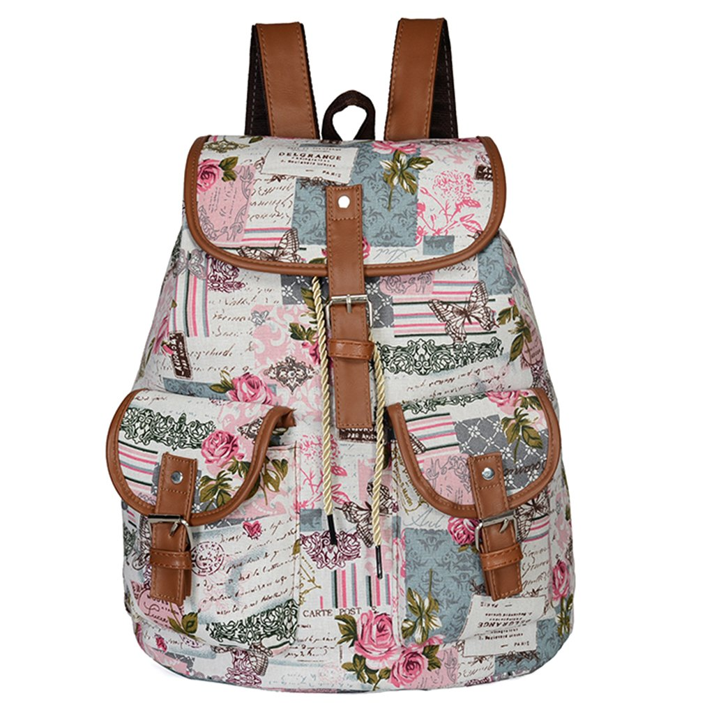 Yeahii Butterfly Elephant Rose Print Canvas School Vintage Backpack For Women Girls For Back To School
