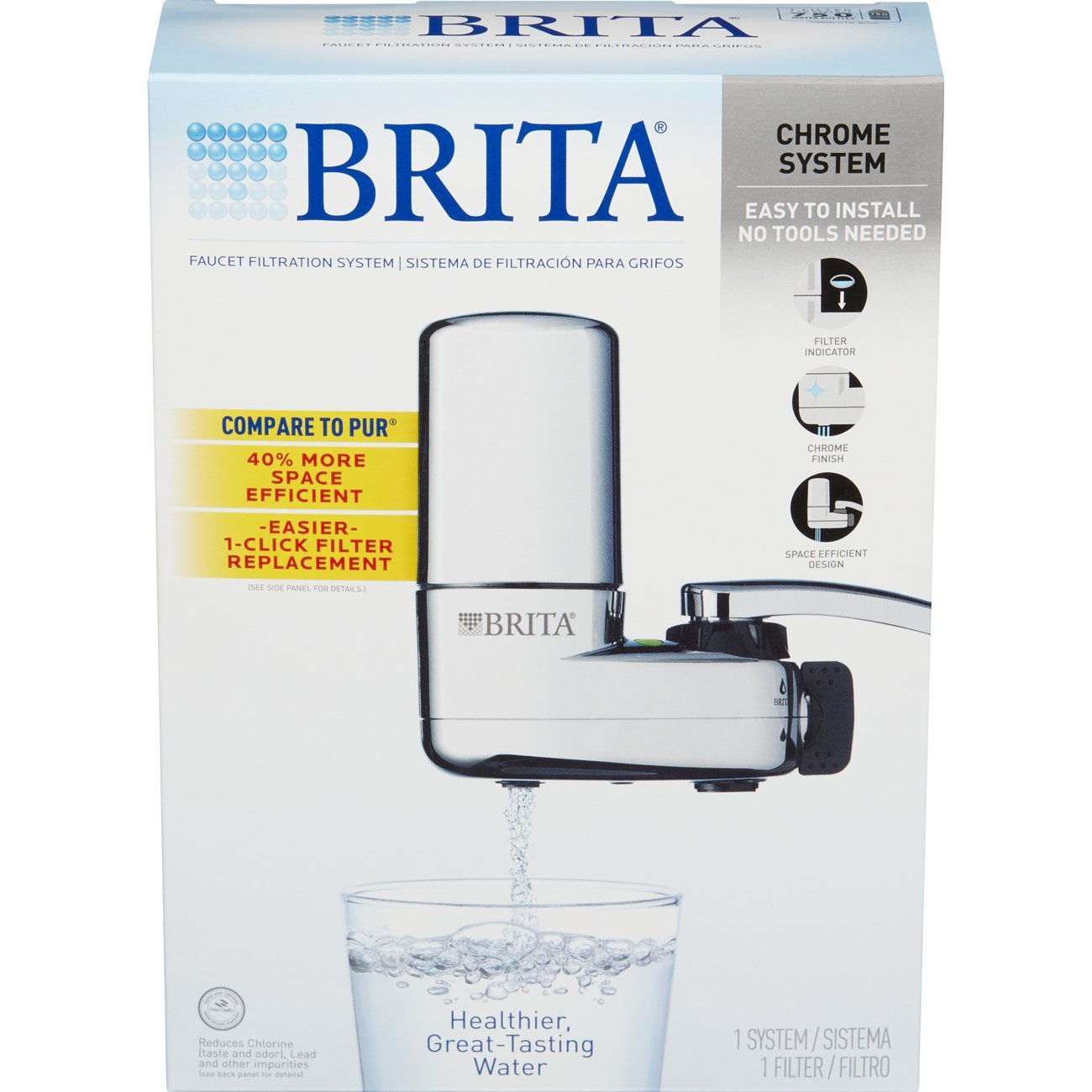 Faucet water filter for kitchen sink brita for kitchen - Brita On Tap Chrome Water Faucet Filtration System Fits Standard Faucets Only Chrome Kitchen Countertop Water Filters Amazon Com