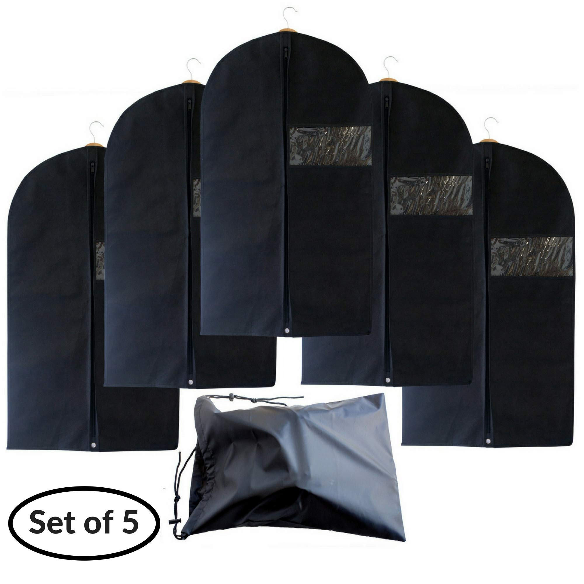 Garment Bags with Shoe Bag - Breathable Garment Bag Covers Set of 5 for Suit Carriers, Dresses, Linens, Storage or Travel - Suit Bag with Clear Window by B&C Home Goods (Image #7)