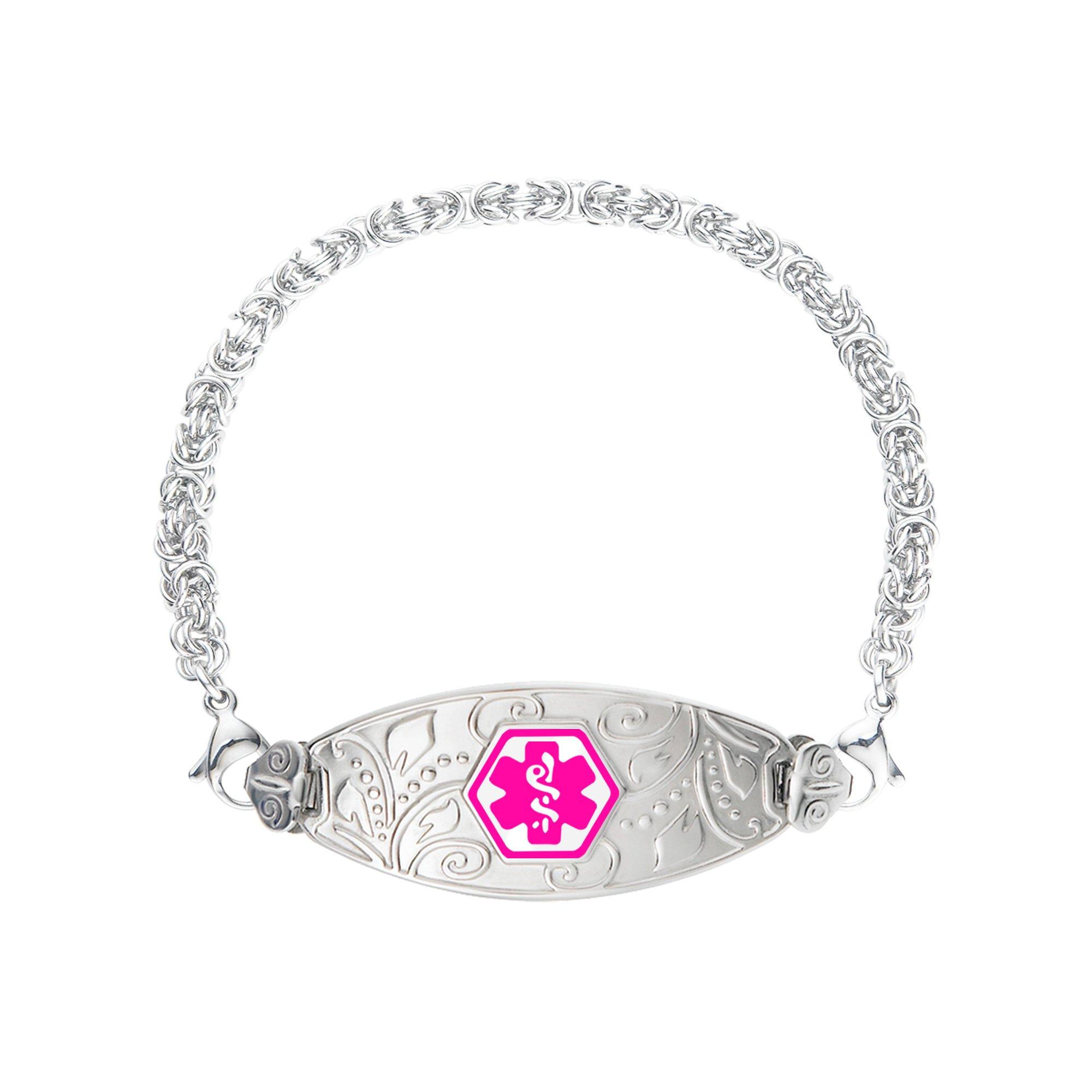 Divoti Deep Custom Laser Engraved Lovely Filigree Medical Alert Bracelet -Stainless Handmade Byzantine-Violet-7.0''