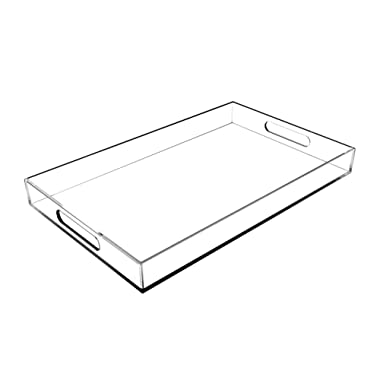 CLEAR SERVING TRAY - 16  Standard - Spill Proof - Acrylic Lucite Decorative Serving Tray with Handles by WOOSAL