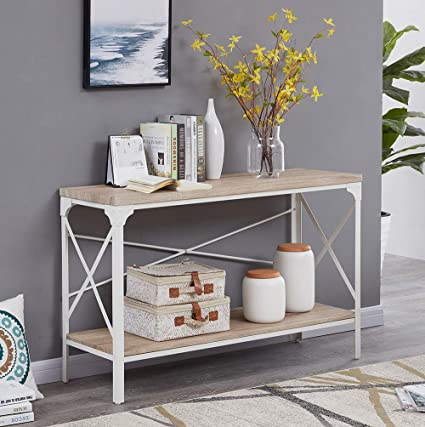 Amazon Com Homissue Modern Style White Sofa Table With Storage