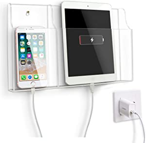 VANCORE Clear Wall Mounted Phone Holder Stand Remote Control Holder Media Organizer Caddy with Holes for Charging Smartphone, iPad, Tablet Holder Station Large Enough