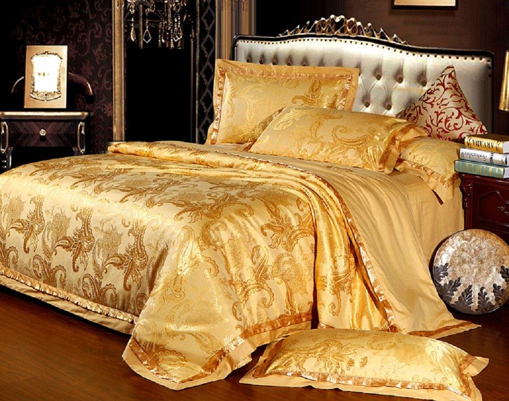 高級布団カバーセット 北欧 人絹 3点セット シングル 掛け布団カバーx1枚: 160x210cm ベットシーツx1枚:230x250cm 枕カバーx1枚: 48x74cm (黄金の色) B00LI146AU 黄金の色