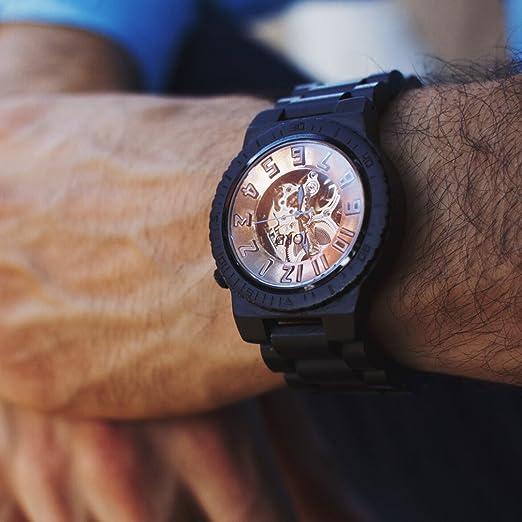 Jord Relojes de Madera para Hombres - Dover Serie Esqueleto automático/Madera Reloj Banda/Madera Bisel/Self Winding Movimiento - Incluye Caja de Madera ...