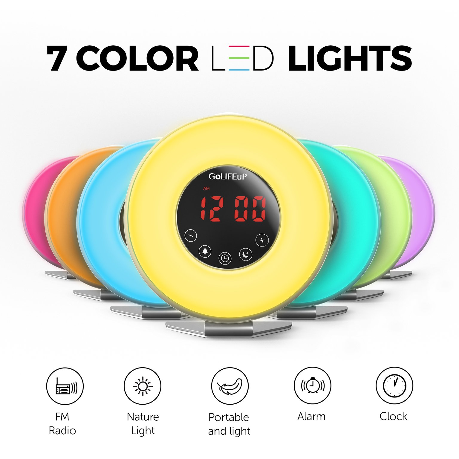 Alarm Clock Radio Digital Sunrise and Sunset simulation Wake Up Light for  kids teens women and men with Touch LED display 6 natural sounds 7 colors  with USB ... d2d760153