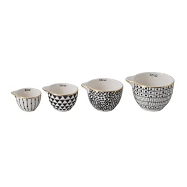 Creative Co-Op Black & White Stoneware Measuring Cups with Gold Electroplating (Set of 4 Sizes)