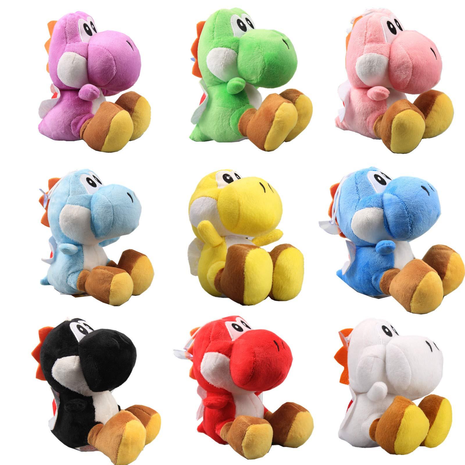UiUoU Super Mario Bros. Set of 9 Yoshi Plush Toys 6'' Green Yoshi, Red Yoshi, White Yoshi, Purple Yoshi, Light Blue Yoshi, Dark Blue Yoshi, Black Yoshi, Yellow Yoshi, and Pink Yoshi by uiuoutoy