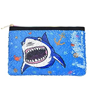 WERNNSAI Shark Pencil Case - Blue Glitter Zipper Bag Portable Reversible Sequin Toiletry Pouch Handy Coin Clutch Purse Cosmetic Makeup Bags