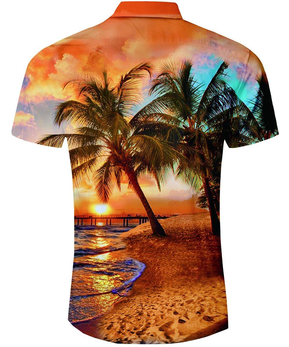TUONROAD Herren Freizeit-Hemd, Herren Hawaii Style,Kurzarm Freizeit Hemd, Kurzarm Urlaub Hemd