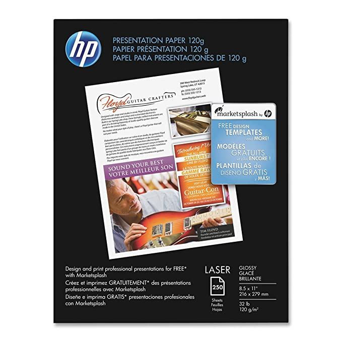 amazon com hp premium presentation 120g laser paper glossy 8 5
