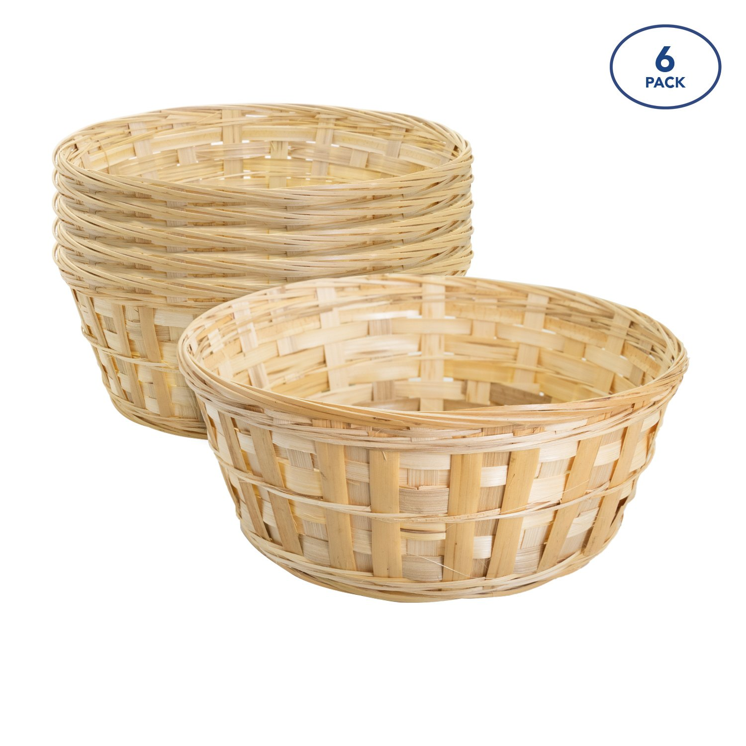 Royal Imports 10'' Round Natural Bamboo Handwoven Bread Basket 4''x10'' Braided Rim, Pack of 6