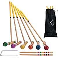 Camping w// 6 Colored Mallets and Balls Picnics Best Choice Products 6-Player 32in Outdoor Yard Classic Wooden Croquet Sport Game Set for Backyard Carry Bag 9 Wickets Multicolor 2 Stakes