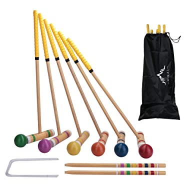 Himal Premium Wooden Six Player Croquet Set for Families Backyard Games with Carrying Case (28 inch)