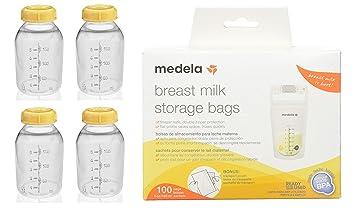 Leche materna alimentación botellas de bebé de almacenamiento de información Medela paquete de 3 150 ML