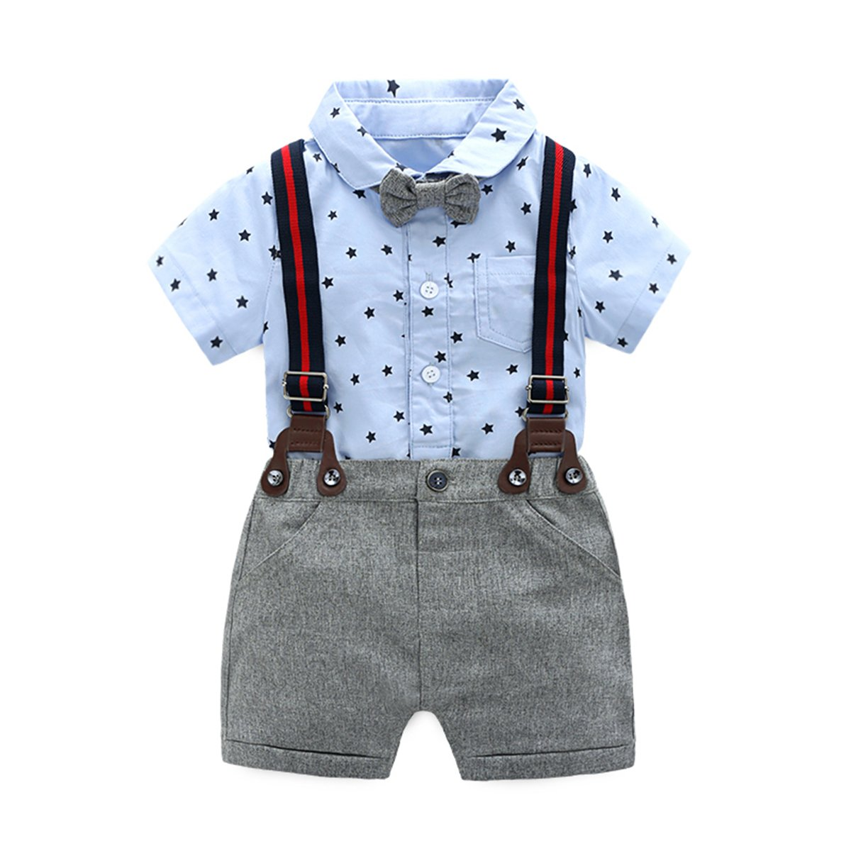Baby Boys Gentleman Outfits Suits, Infant Short Sleeve Onesies+Bib Pants+Bow Tie Clothing Sets,Blue,66(6-9M)