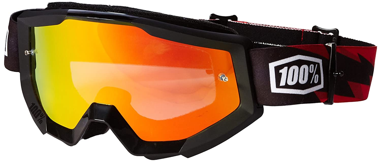 100% unisex-adult Goggle (Black,Mirror Red,One Size) (STRATA MX STRATA SLSH Mirror Lens Red)
