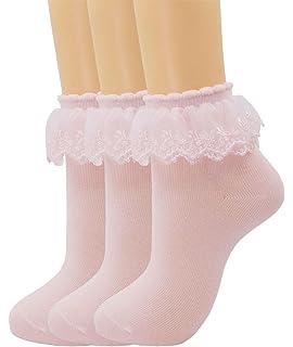 f6611da1b SRYL Women Lace Ruffle Frilly Ankle Socks Fashion Ladies Girl Princess H08