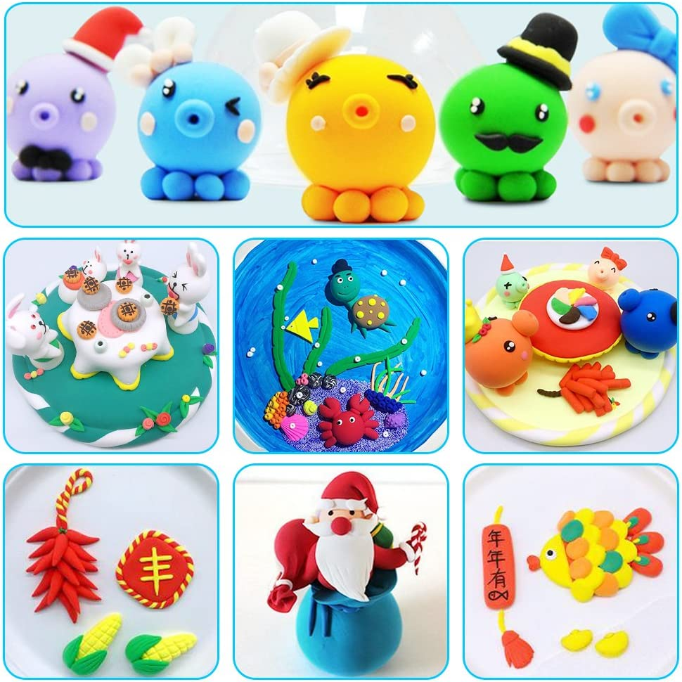 Best Gift for Kids Air Dry Clay 36 Colors Modeling Clay No-Toxic Ultra Light Magic Clay Set with Tools Creative DIY Crafts Clay Dough