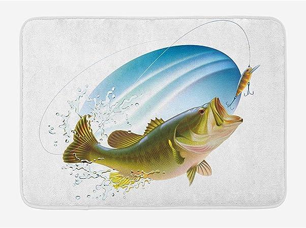 LAURE Pesca Lubina bocazas Atrapar un bocado en el Agua Aerosol Movimiento Salpicar Área de Imagen Salvaje Alfombras Antideslizantes para Sala de Juegos: Amazon.es: Hogar