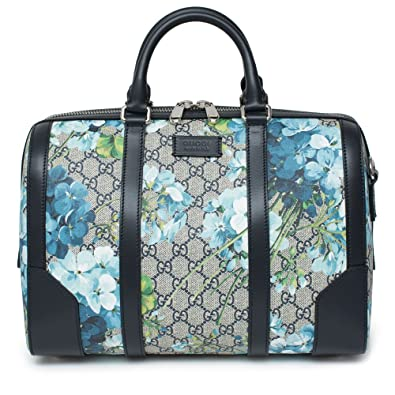 26ec587254107a Gucci Blue Small gg Blooms Blossom Duffle Bag Canvas Boston Bag Authentic  New