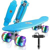 """Monopatin Completo Mini Cruiser Skateboard 22"""" Retro Skateboard para Niños Adolescentes Adultos, Ruedas con Luz LED y…"""
