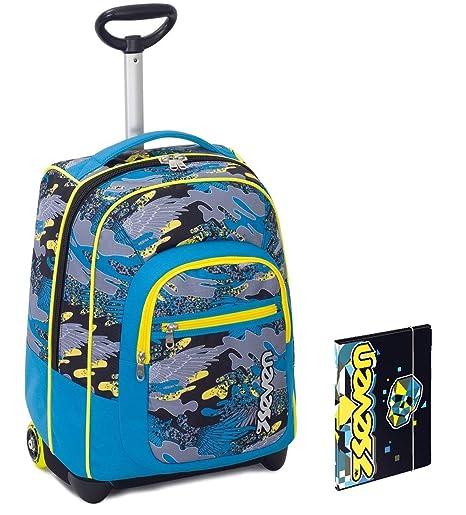 cab2ca143b Trolley Bambino Seven + Cartellina A4 - Azzurro Giallo Camouflage -  Spallacci a Scomparsa! Zaino