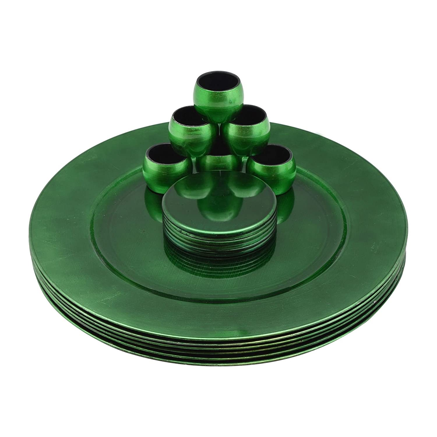 Argon Tableware Round Charger Plates, Coasters & Napkin Rings Set In Green - Set Of 18 (6 Plates, 6 Coasters, 6 Napkins Rings)
