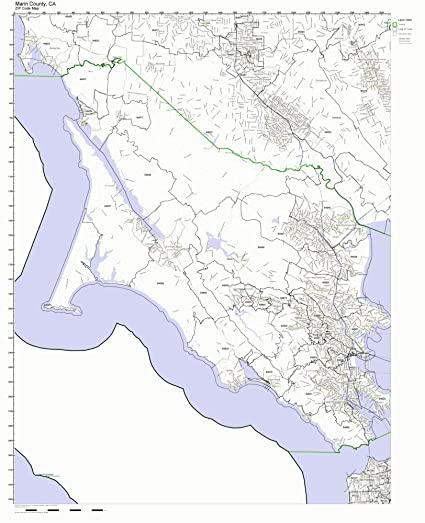 Amazon Com Marin County California Ca Zip Code Map Not Laminated