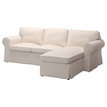 IKEA Original Ektorp Cover for Sofa with Chaise, 3-Seat Sectional (Cover Only (Lofallet Beige)