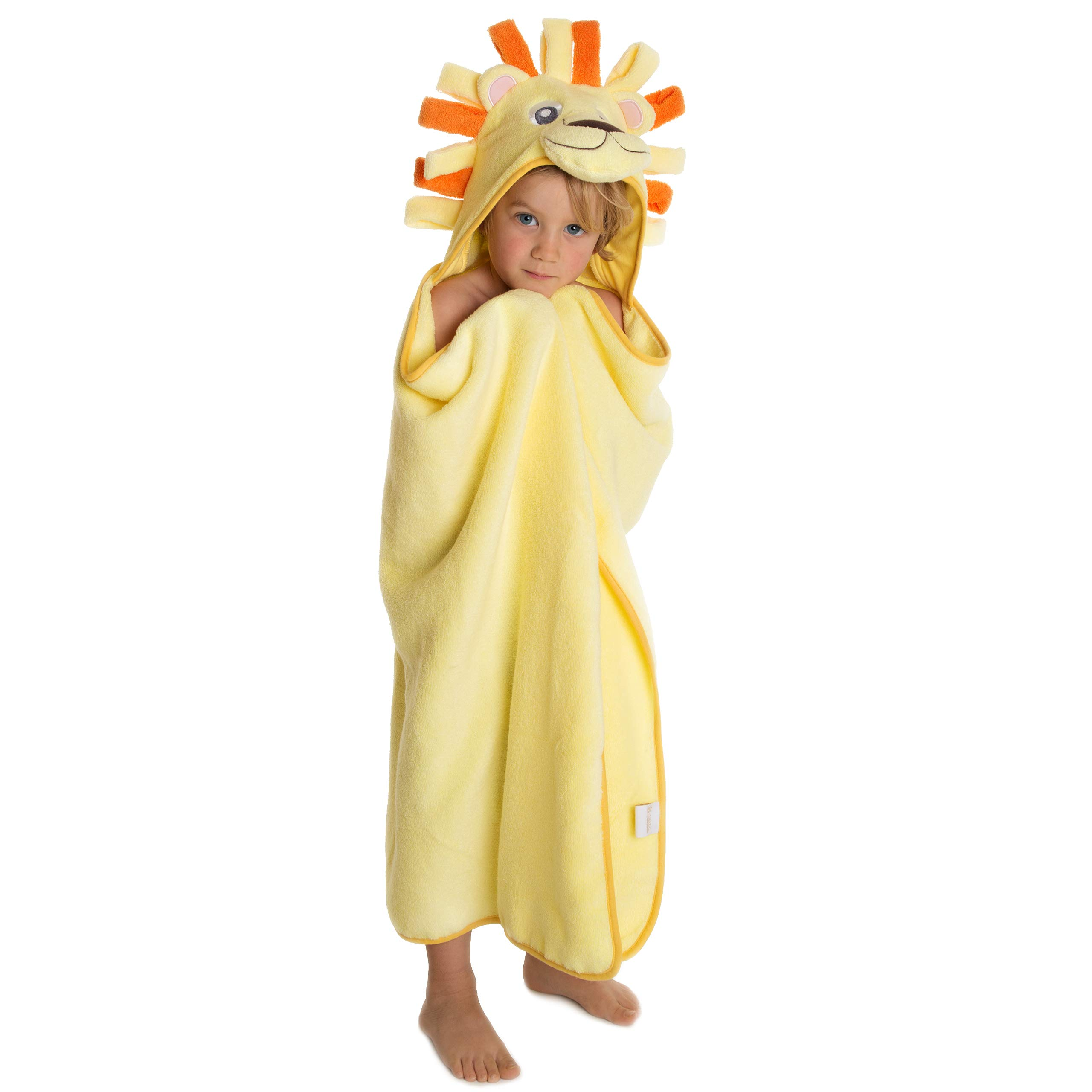Premium Hooded Towel for Kids | Lion Design | Ultra Soft and Extra Large | 100% Cotton Bath Towel with Hood for Girls or Boys by Little Tinkers World by Little Tinkers World