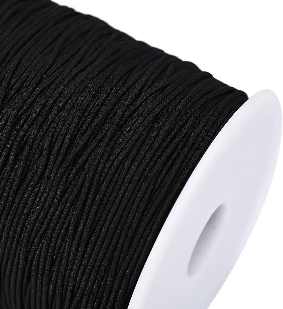 progetti Fai da Te Trimming Shop Bobina di Filo Elastico con Finitura Liscia Cinturini per Realizzare Cinturini bracciali Nastri Lingerie Nero, 1 Metri 2 mm