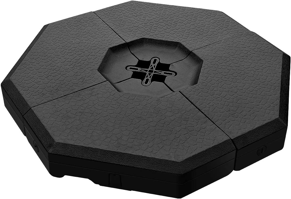 Tangkula 4PCS Patio Cantilever Offset Umbrella Base Weight Stand, Octagon Shaped Water Sand Filled Weight Outdoor Umbrella Base Plate w Easy-Fill Spouts, Concave Handles, 41 x 41 Umbrella Base