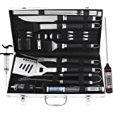 grilljoy 24PCS BBQ Grill Tools Set with Meat Thermometer and Injector - Extra Thick Stainless Steel Fork, Spatula& Tongs - Co