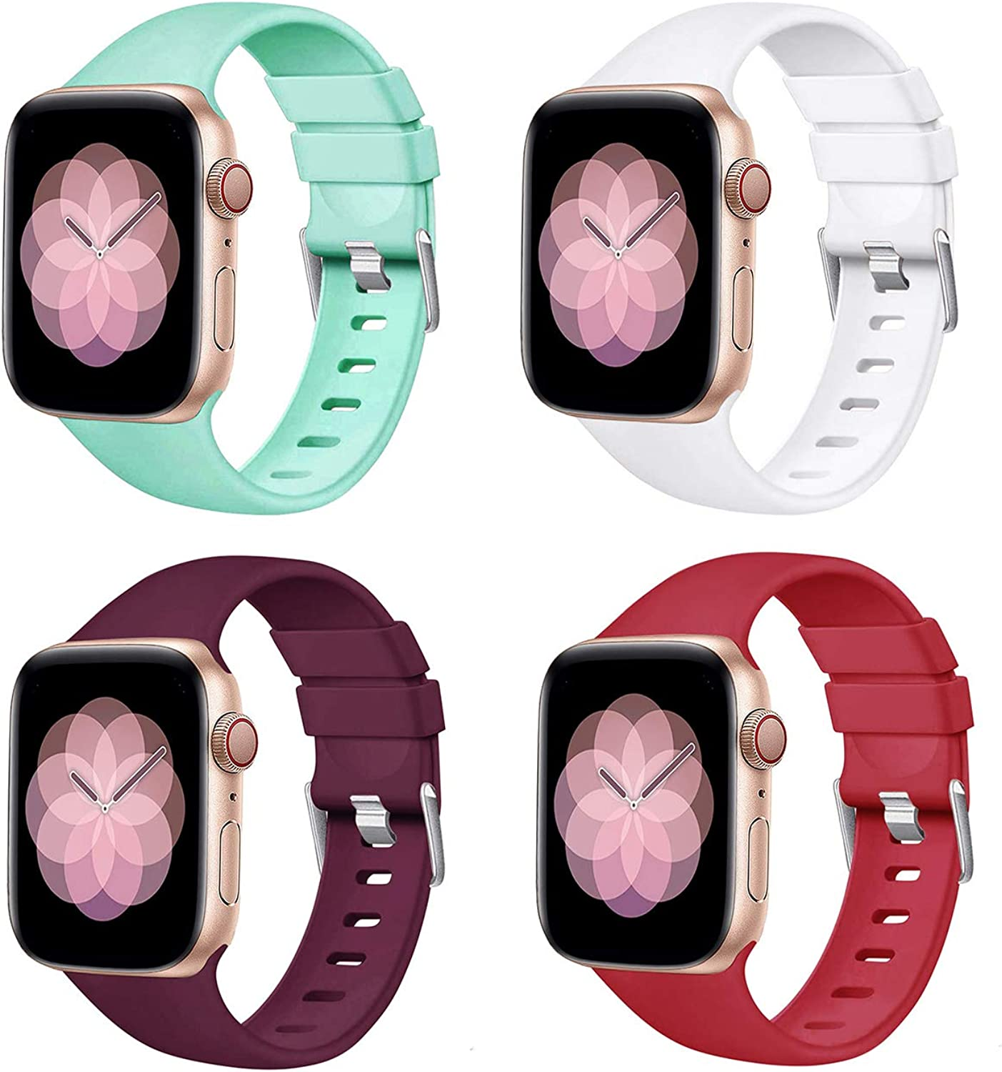 PROSRAT 4-Pack Bands Compatible with Apple Watch Band 42mm/44mm,Soft Silicone Strap Wristband for iWatch Series SE/6/5/4/3/2/1 men women (Teal/White/Purple/Rose Red, 42mm/44mm)
