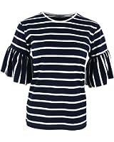 AOMEI Women's Cotton Round Neck Butterfly Short Sleeve Stripe Tee Shirts Tops for Women T-Shirt