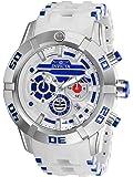 Invicta Men's Star Wars 50mm White Polyurethane Band Steel Case Quartz Silver-Tone Dial Analog Watch 26551