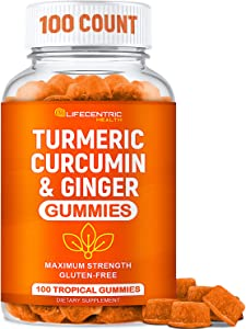 Turmeric Gummies for Adults and Kids | Max Strength Anti Inflammatory Turmeric and Ginger Gummies Supplement | Vegan Organic Natural Turmeric Curcumin Gummies for Joint Pain Inflammation and Health