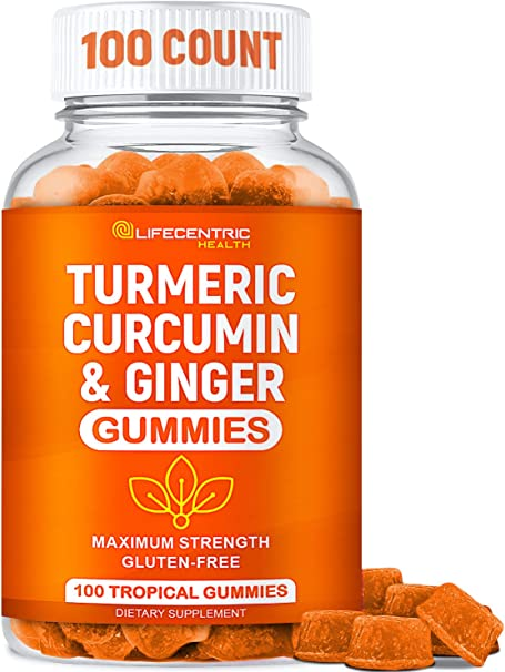 Turmeric Gummies for Adults and Kids   Max Strength Anti Inflammatory Turmeric and Ginger Gummies Supplement   Vegan Organic Natural Turmeric Curcumin Gummies for Joint Pain Inflammation and Health