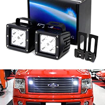 iJDMTOY Behind Grille LED Pod Light Kit For 2009-14 Ford ... on