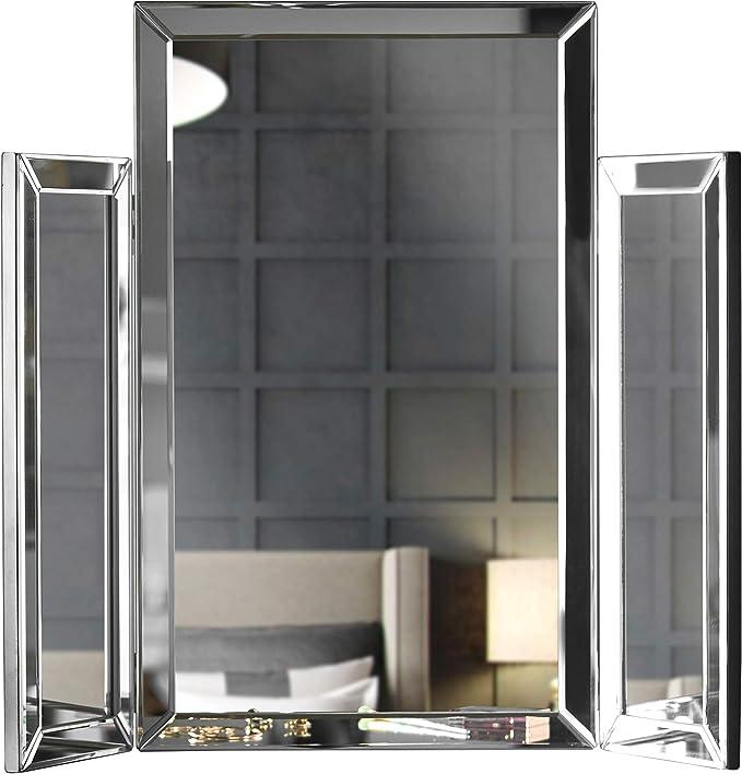 Carme Paloma - Mesa de tocador plegable con espejo biselado, diseño de cristal biselado, plegable, color plateado: Amazon.es: Hogar