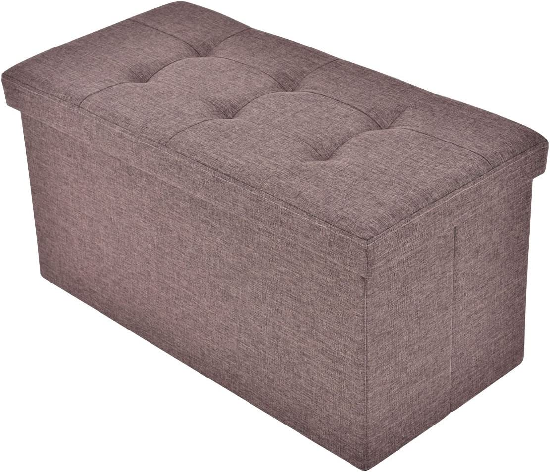 Giantex Folding Rect Ottoman Bench Storage Stool Box Footrest Furniture Decor Brown