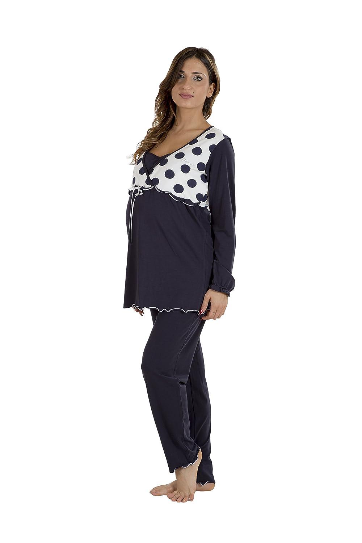Premamy - Mujer Pijama Premamá Maternidad Para Embarazo y Lactancia - Color: Azul: Amazon.es: Ropa y accesorios