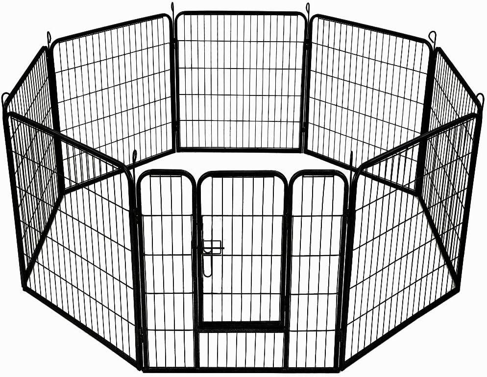 Aufun Valla para Perros 8 Piezas Elementos Valla 80x80cm recinto Exterior para pequeños Animales y roedores
