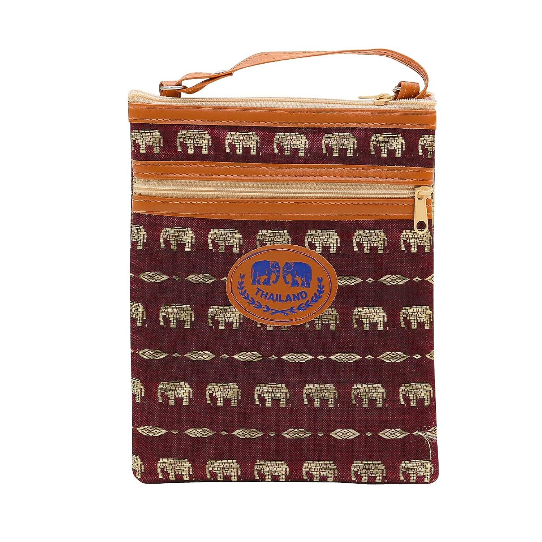 Cell Phone Cross Body Bag Passport Holder Wallet Coin Silk Thai Elephant Purse