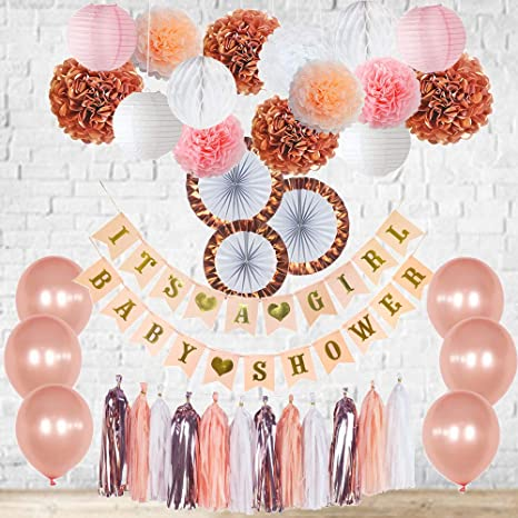 Amazoncom Rose Gold Baby Shower Decorations Its A Girl Banner
