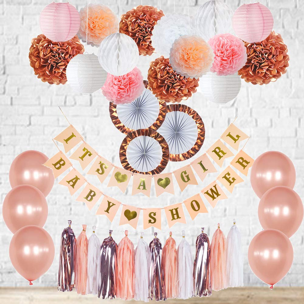 Rose Gold Baby Shower Decorations Its a Girl Banner Balloons Pink, White, Blush and Rose Gold Tassel Garland Bunting Tissue Paper Fans Lanterns Pom Poms Honeycomb Balls New Color Party Nursery Room